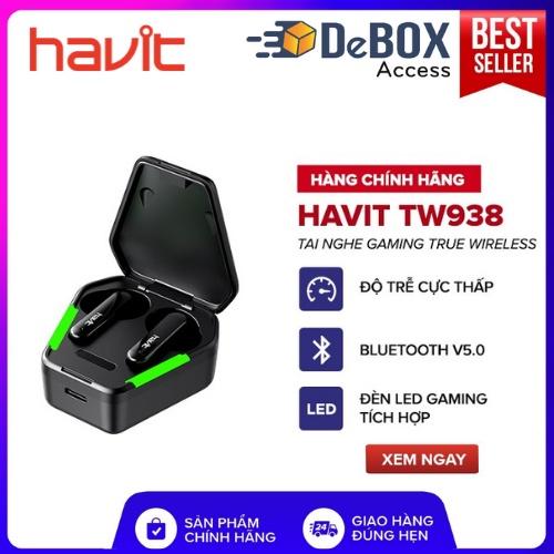 Tai Nghe True Wireless HAVIT TW938, Tích Hợp Gaming Mode , Pin Tới 28 Giờ, Nghe Độc Lập, Type C, Cảm Ứng - Chính hãng