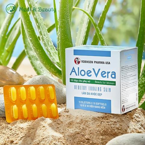 Viên Uống Đẹp Da, Dưỡng Da, Thải Độc Cơ Thể, Nhuận Tràng - Aloe Vera Sữa Ong Chúa - Medibeauty -Robinsonpharmausa-H/100v