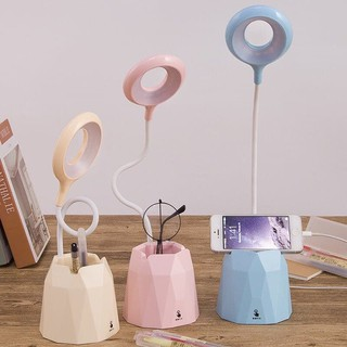 Đèn Led tích điện học tập, làm việc để bàn chống lóa, chống cận có hộp đựng bút, điện thoại, ipat, xoay 360 độ