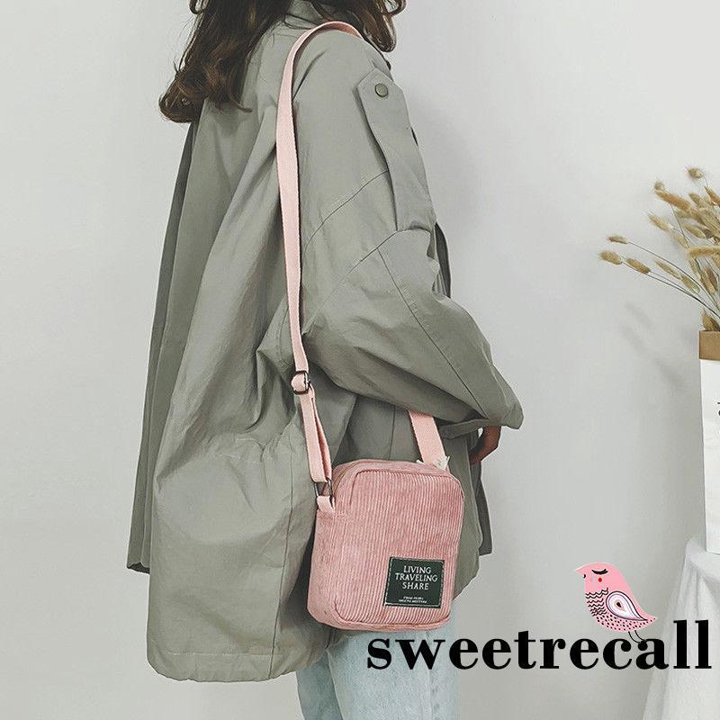 Túi đeo chéo/đeo vai vải nhung sọc mini thời trang nữ