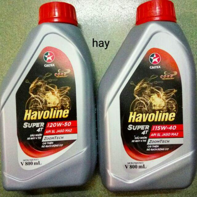 Nhớt xe số 0 8L 20w50, 15w40 Caltex Havoline Super 4T - dầu nhớt xe