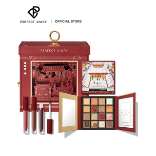 PERFECT DIARY REUNION GIFT BOX MAKEUP SET INCLUDE 1PCS EYESHADOW AND 3PCS Son Kem Lì (NEW YEAR LIMITED EDITON)