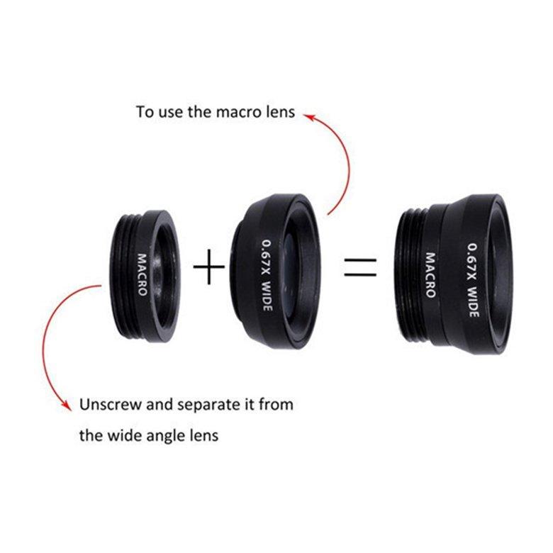 ♣♓360 Degree Rotate Clip Camera Lens Kits Fish Lens Wide Angle Macro Lens