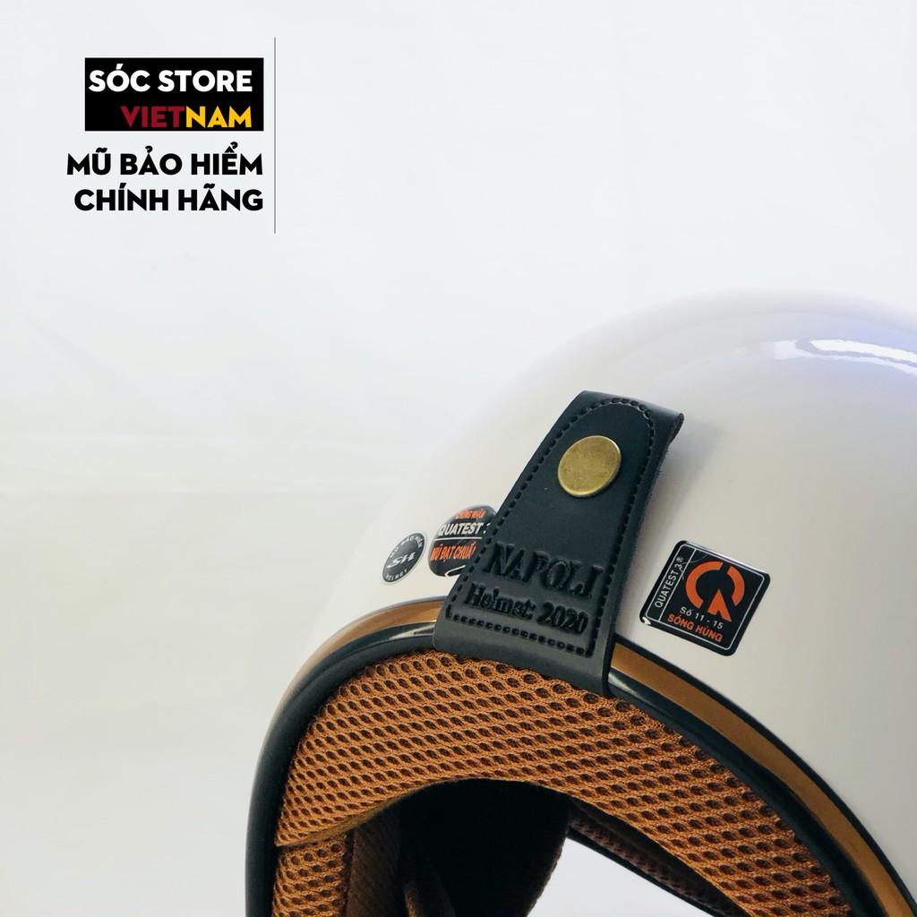 Mũ bảo hiểm 3 phần 4 chính hãng Napoli màu trắng, nón bảo hiểm 3 phần 4 nam nữ Sóc Store freesize