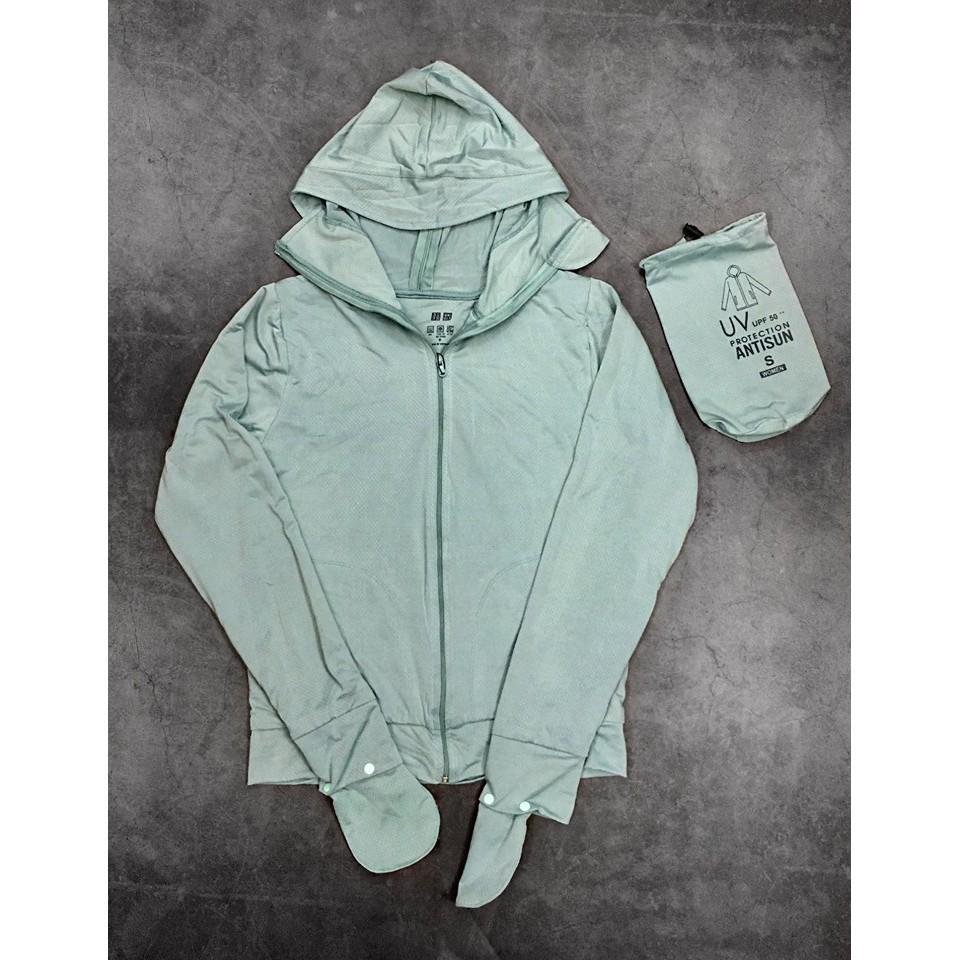 Áo khoác chống nắng Uni NỮ 2 LỚP chất liệu làm mát, vải thun lỗ - XANH NGỌC