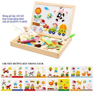 Bảng gỗ tập viết kết hợp tranh ghép hình_HAPPY FARM cho bé_babyvnshop4