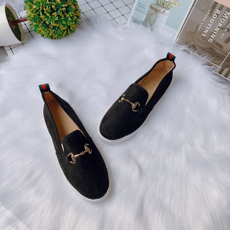 [Freeship đơn 50k] Giày slip on nữ trơn tag khoá gót kẻ 2 màu -Ảnh chụp thật