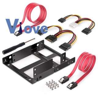 2 Bay 2.5 to 3.5 Inch HDD SSD Metal Mounting Kit Adapter Bracket