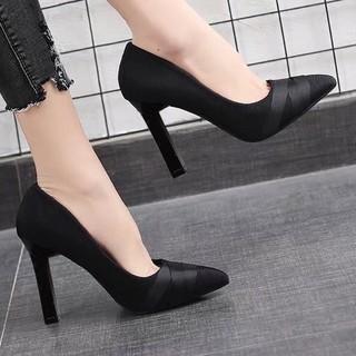 Giày cao gót da nỉ nhung dây lụa chéo - 8P