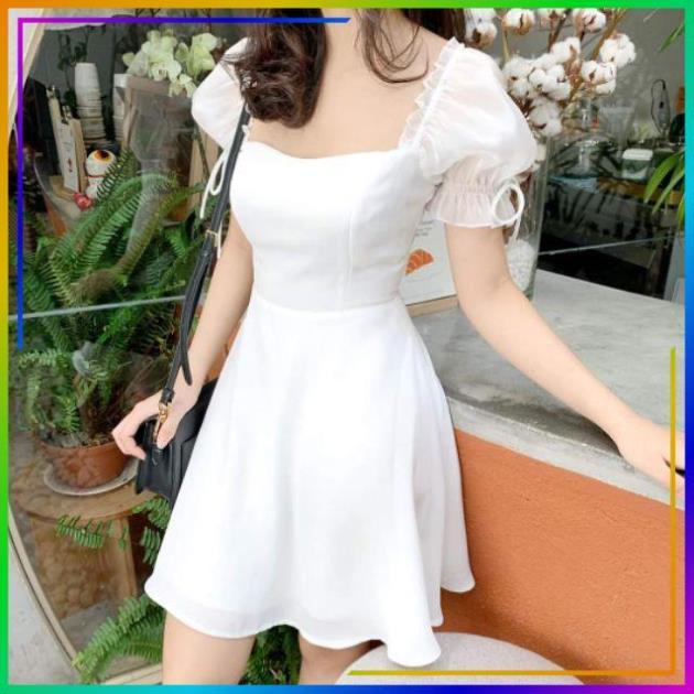 [VẢI XỊN] Đầm trắng dự tiệc dáng xòe tay đính hạt siêu hot
