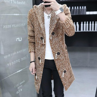 ✑✱Hair stylist autumn hooded horn button cardigan sweater men s mid-length woolen coat and mixed color