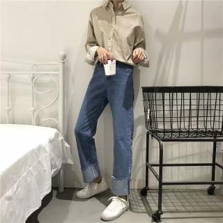 Quần Jeans Nữ Lưng Cao Dáng Rộng Phong Cách Retro