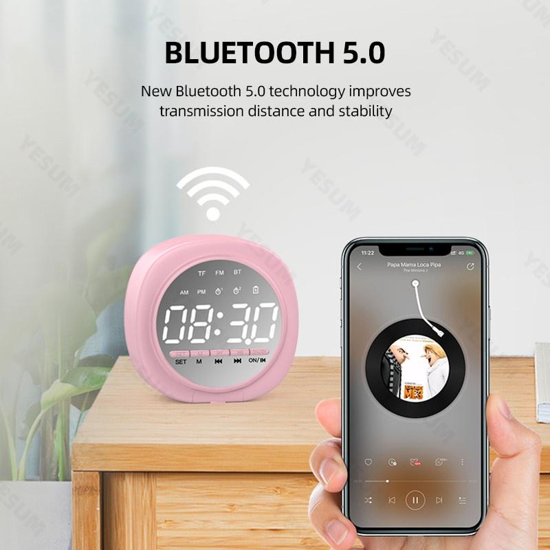 Loa Bluetooth Không Dây Tích Hợp Đồng Hồ Báo Thức Màn Hình Led