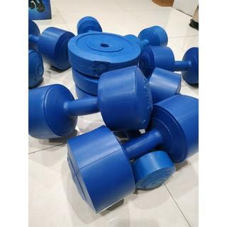 Bộ vỏ tạ nhựa tập Gym cao cấp bao gồm 8 vỏ bánh 5kg, 1 vỏ tạ tay 8kg, 1 vỏ tạ tay nhựa5kg, 2 tay nhựa 3, 2 vỏ tạ tay 2kg thumbnail