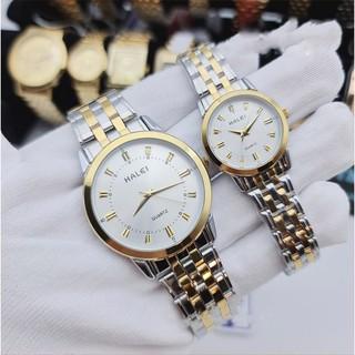 Đồng hồ đôi nam nữ halei 552DM mặt trắng dây vàng thumbnail