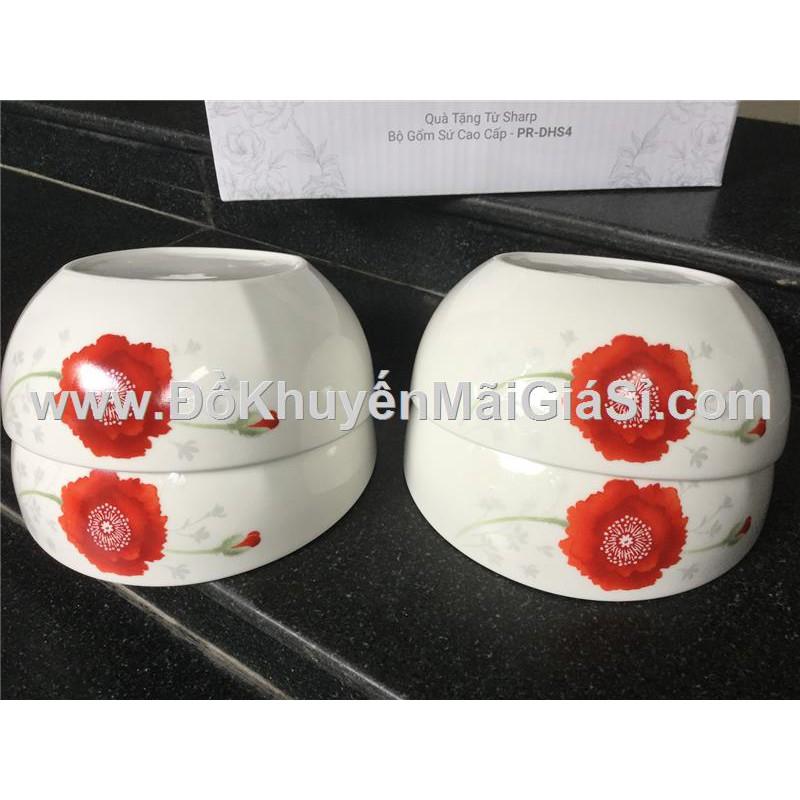 Bộ 4 tô sứ cao cấp Dong Hwa hoa đỏ 7 in - Sharp tặng.