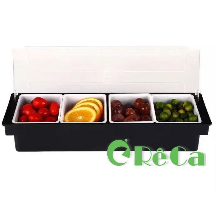 Khay đựng topping, đựng thạch, đựng hoa quả nhựa cao cấp 3 - 4 - 5 - 6 ngăn chứa