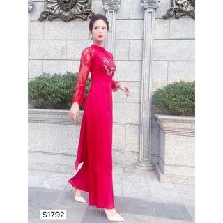 Set áo dài truyền thống thêu hoa tay ren S1792_ Váy thiết kế DOLCE VIVA COLLECTION (kèm ảnh thật) thumbnail