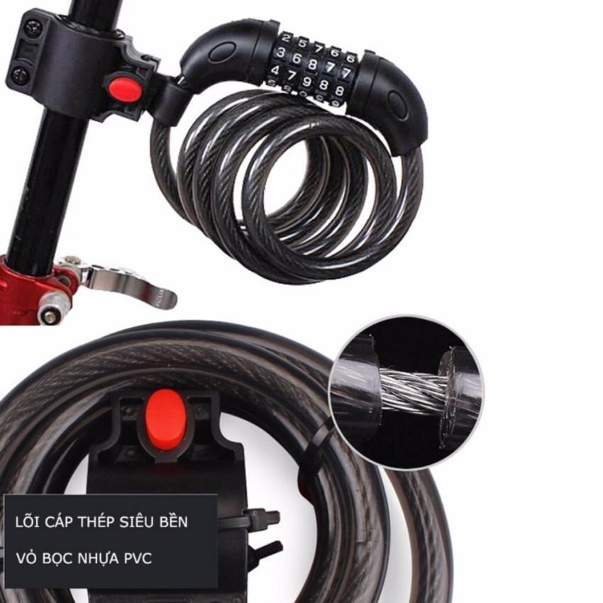 Khóa dây xe đạp 5 số TY-566 đổi được mã 1.2m TI 448