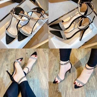 [Mã FAMAYWA giảm 10k đơn từ 50k] Sandal mũi nhọn 2 dây đá hạt liti cao cấp gót 9p (hàng đẹp)