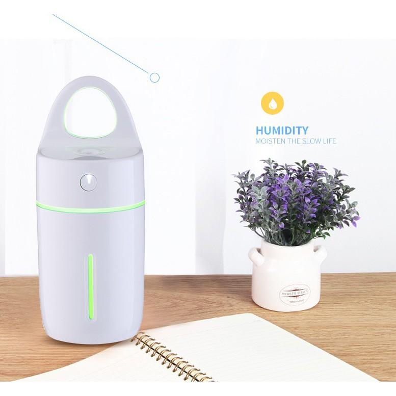 Máy phun sương, xông tinh dầu tạo độ ẩm mini dễ thương kiêm đèn LED 7 màu cao cấp