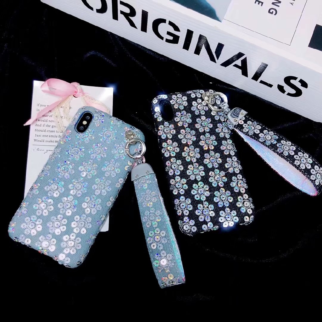 Trend Luxury Case Floral Denim Sequin Phone Case For iPhone I6 6P I7 7P i8 8P IX