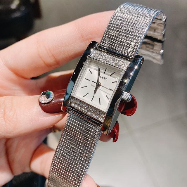 Đồng hồ nữ GUESS mặt chữ nhật bạc - đồng hood nữ chống nước - đồng hồ thời trang Đồng hồ kim-điện tử