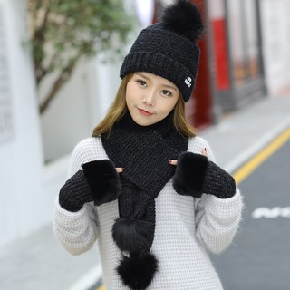 Winter wool scarf three-piece warm knitted hat gloves female