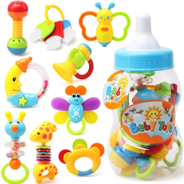 Baby Toy 0-1 Years Old Children's Hand Music Rattle Guar Spray Bottle Set of 9