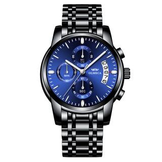 (ĐẲNG CẤP) Đồng hồ nam chạy 6 kim OLMECA máy nhật Kính Tráng Sapphire dây thép đúc đặc
