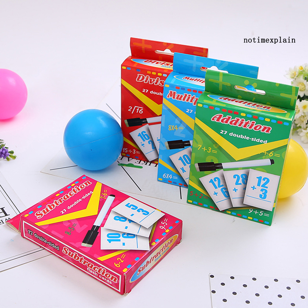 [Ready~] Division Addition Operation Paper Erasable Cards with Pen Math Learning Kids Toy