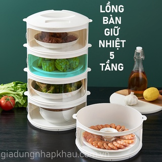 Lồng bàn giữ nhiệt đậy thức ăn 5 tầng mẫu mới 2021 (hàng có sẵn)
