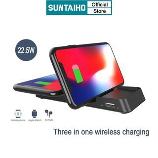 Sạc Không Dây Suntaiho Aj34 22w 3 Trong 1 Cho iPhone 12mini 11 Promax 7 8 Plus Xr Ipod Airpods Iwatch Chuẩn Fcc Ce Rohs