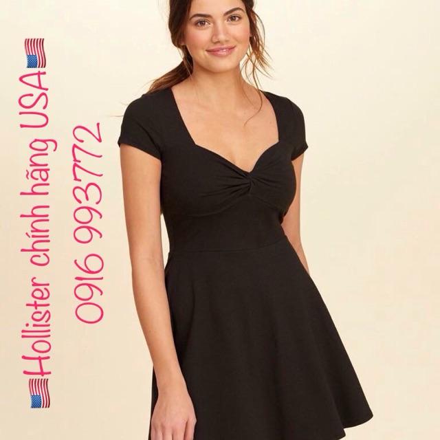 Đầm Thun Cotton Hollister Twist-Front Skater Dress - Hollister 💯chính hãng của USA🇺🇸