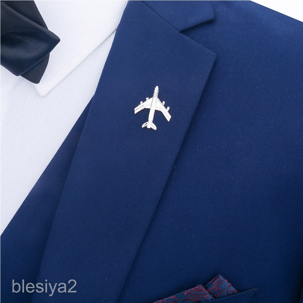 Men\'s Fashion Silver Airplane Button Collar Clip Brooch Pin Jewelry Gift