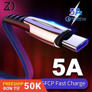 Dây cáp sạc nhanh 5A Micro USB / Type-C /Lightning chống rối và xoắn tiện dụng