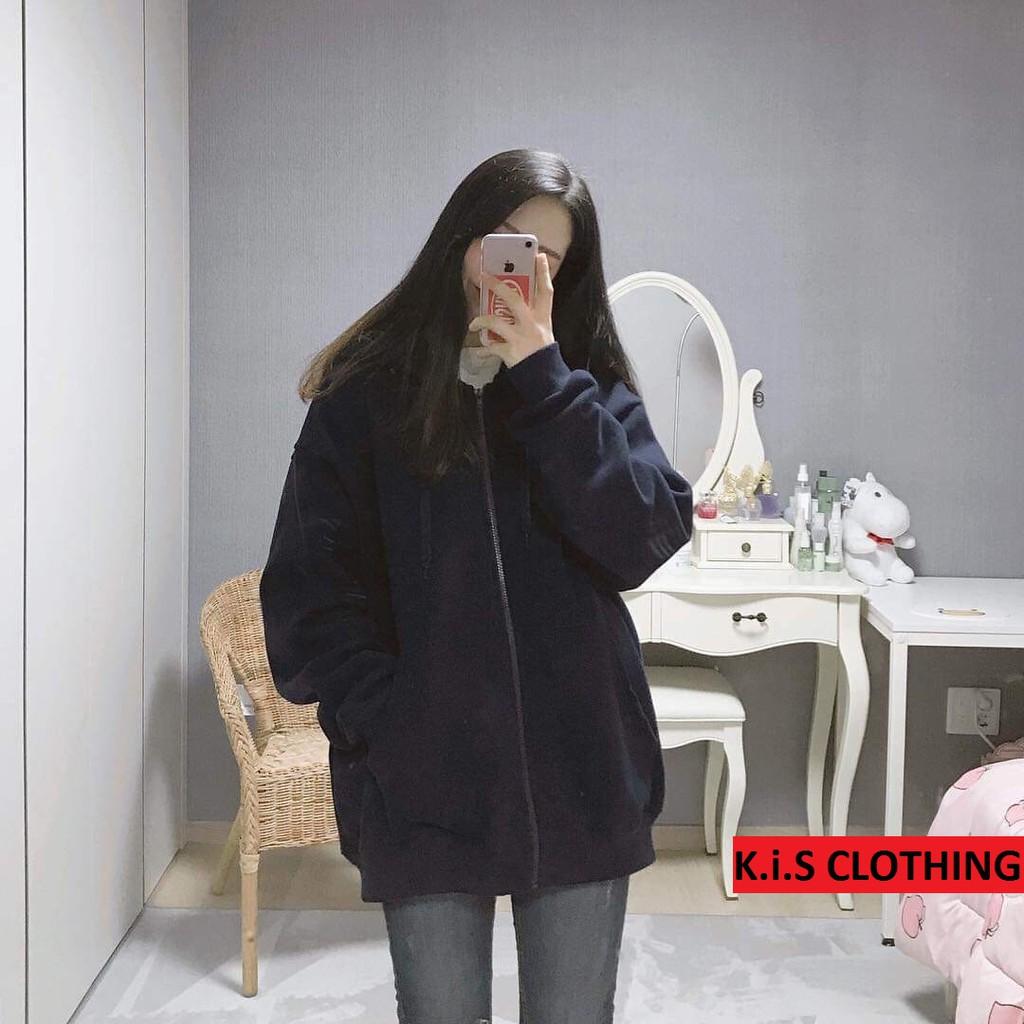[Mã WAFS10 giảm 15% đơn 99k] Áo Hoodie Nỉ Trơn Dáng Rộng Màu Đỏ, Đen Có Khóa Dáng Rộng Phong Cách Street style