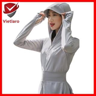 Áo choàng chống nắng nữ, áo khoác dài chống nắng nữ kháng khuẩn khử mùi Vietlaro