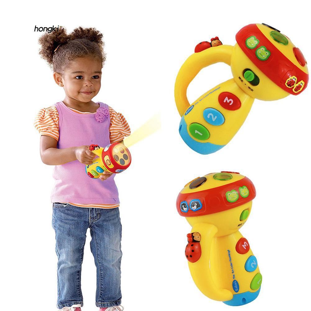 【HKM1】Cartoon Animal Projector Flashlight Rotating Music Light Educational Kids Toy
