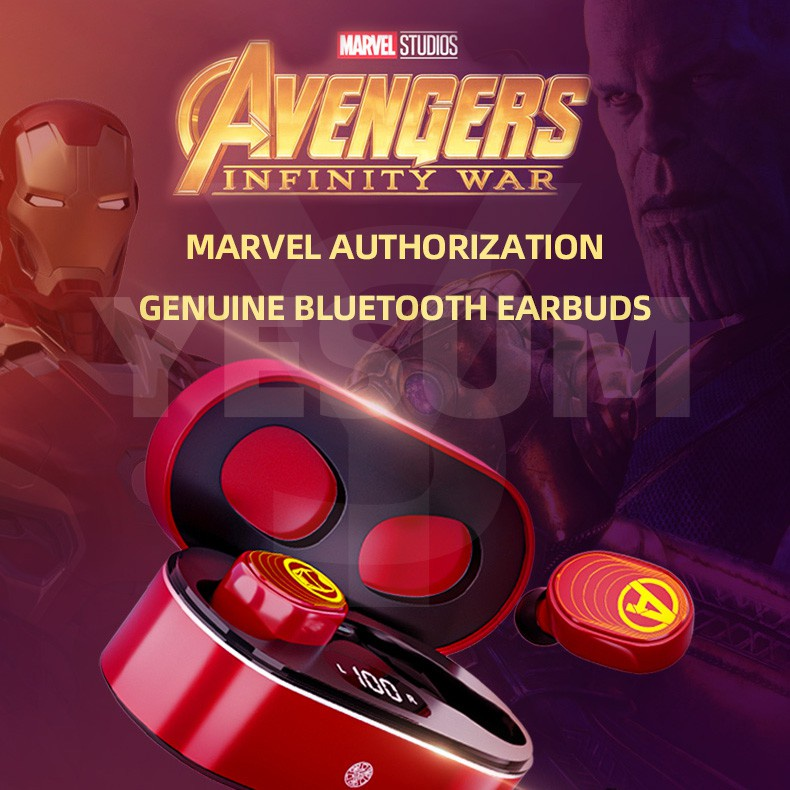 Marvel Avengers Iron Man/Spiderman/Captain America/Black Widow TWS 5.0 Bluetooth Earphones Wireless Earbuds LED Display Touch Control Headset IPX7 Waterproof for VIVO HUAWEI XIAOMI IPHONE OPPO