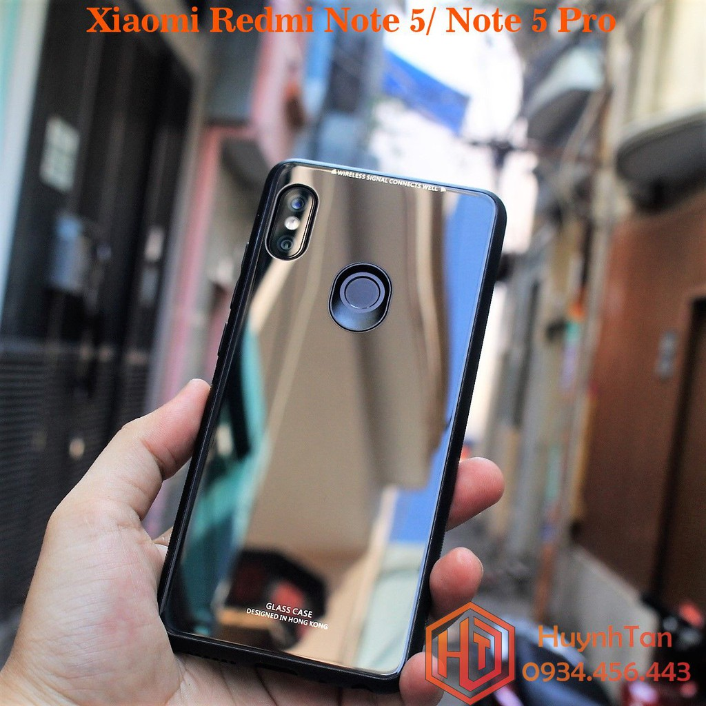 Ốp lưng Xiaomi Redmi Note 5/ Note 5 Pro bề mặt kính cường lực