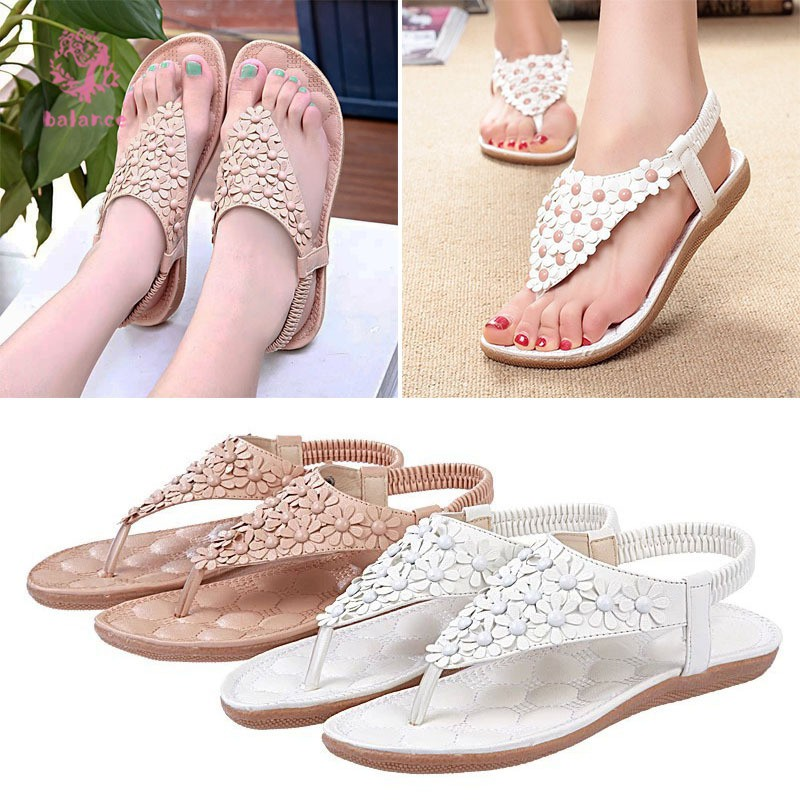 Fashion Women Beading Summer Sandals Slip-on Boho Beach Sandals Sweat Flower Shoes