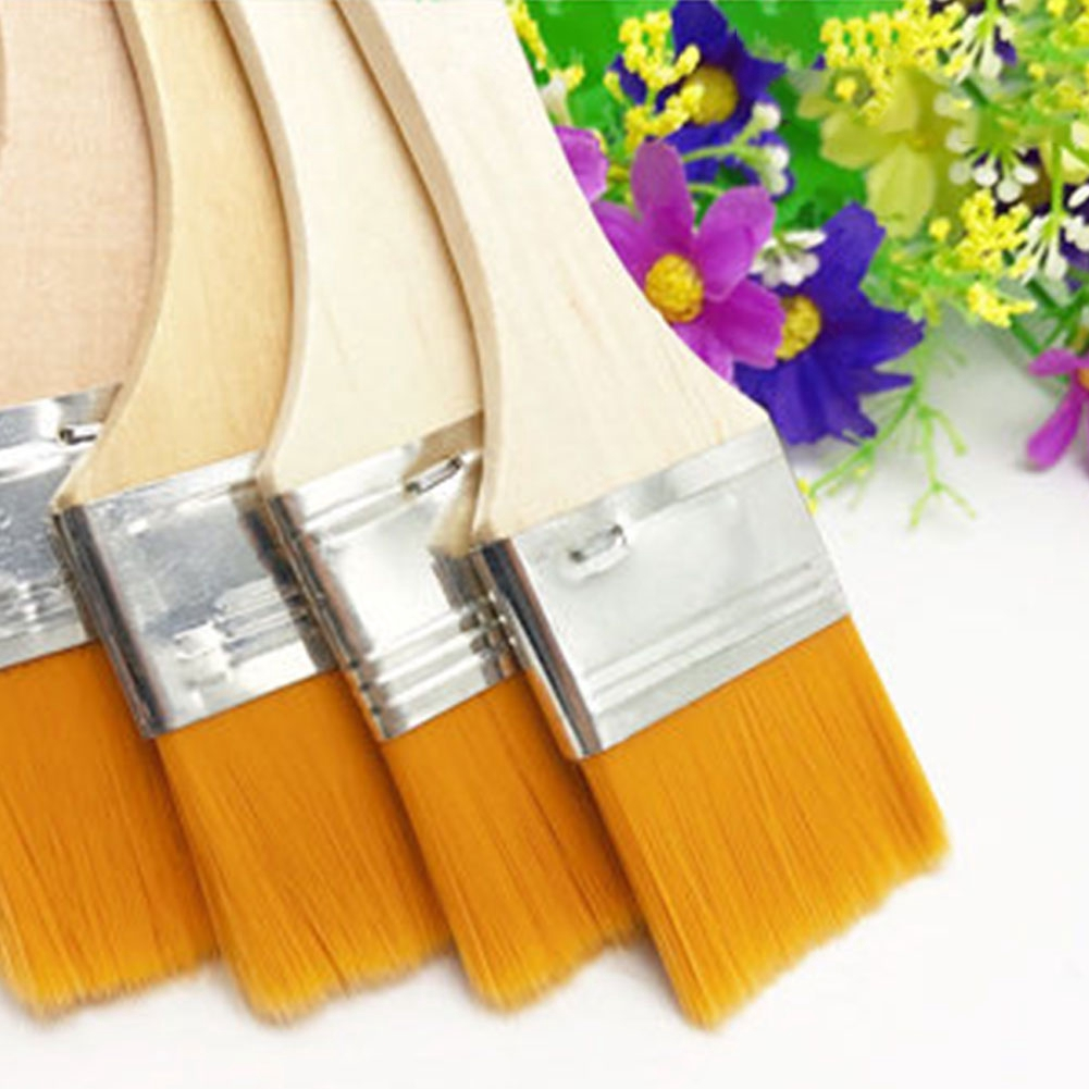 12pcs/set Barbecue With Wood Handles Watercolor Wall Decor Gift For Children Home Tool Nylon Gouache Paint Brush