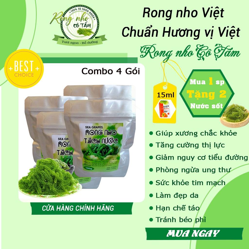 Combo 4 gói rong nho Sea Việt,giúp khỏe da, đẹp dáng, tặng cường thị lực [Freeship] - nho biển(tặng kèm 2 sốt)