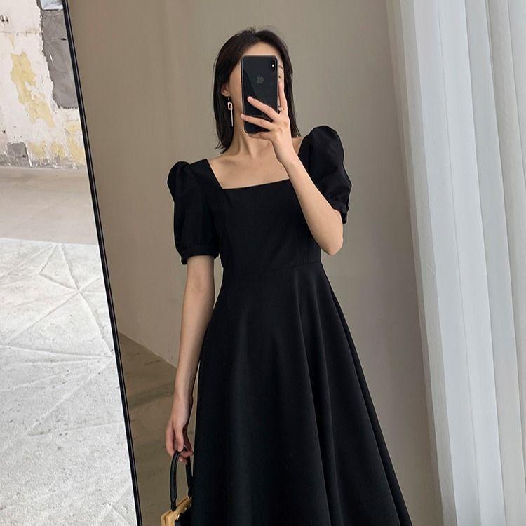 Đầm Maxi Dự Tiệc Cổ Vuông Màu Đen Thanh Lịch Cho Nữ