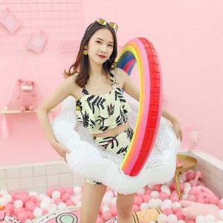 Inflatable Rainbow Swimming Ring Women Kids Swimming Circle Pool Float Summer Pool Party Water Toys
