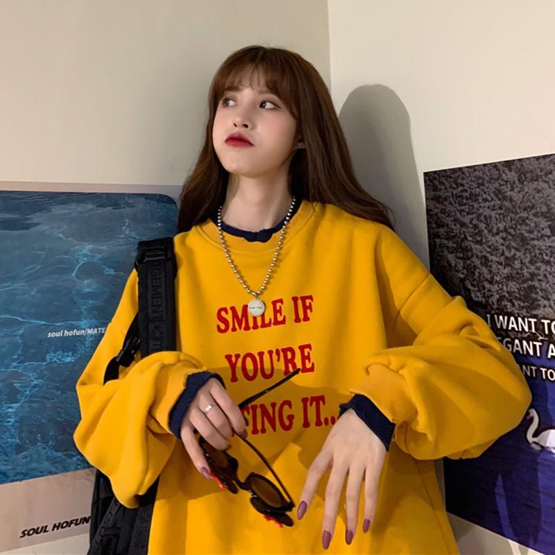 Áo Sweater Nữ💖FREESHIP🎁Giảm 10K Khi Nhập [AOPH10G] Dáng Rộng Hàn Quốc Smile Style [Top Hot 2019 Áo Sweater Nữ Ulzzang]