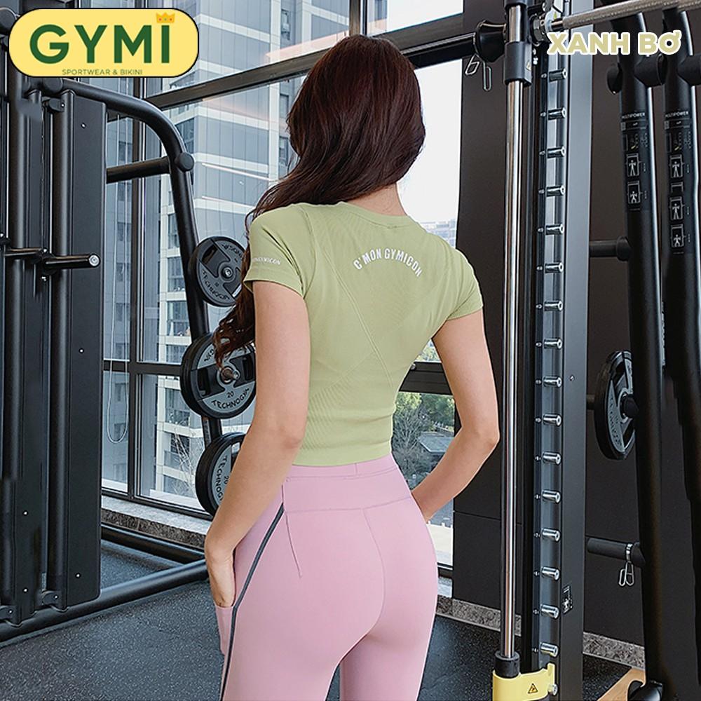 Mặc gì đẹp: Dẻo dai với Áo tập gym yoga nữ GYMI AC12 dáng croptop ngắn tay ôm body chất dệt co giãn logo in lưng phù hợp tập thể thao