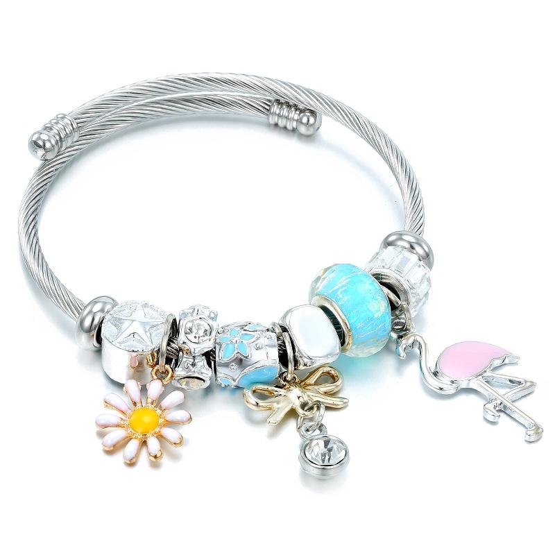 Charms Diy Beaded Bracelet Gifts for Women Korea Free Size Charm Bracelets Bangles Pandora Beads Bracelet For Girls