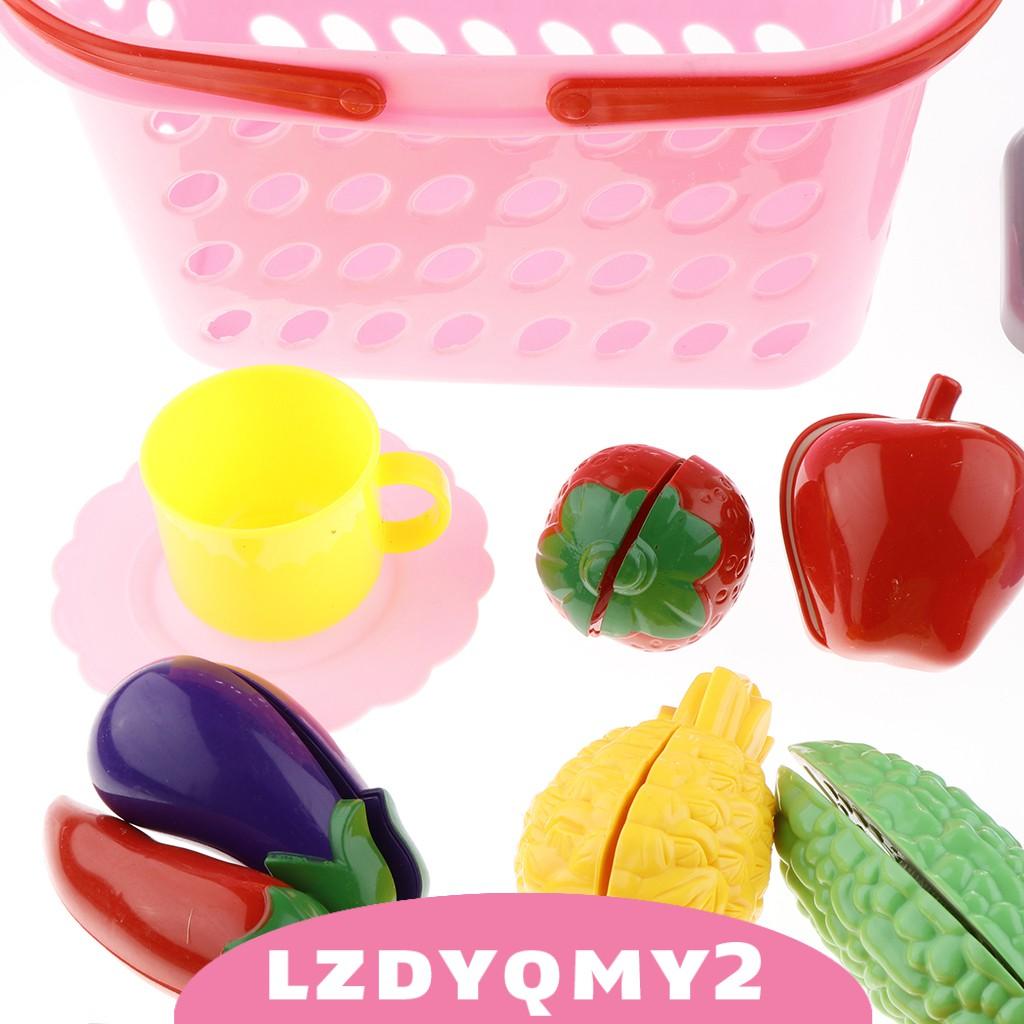 Curiosity 20Pieces Kitchen Cutting Toy Kit Plastic Play Food Kids Basic Skill Training